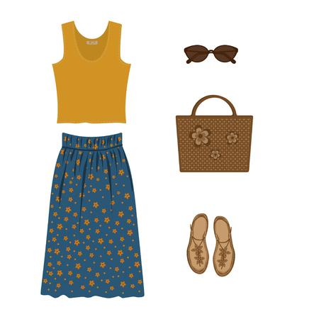 Vector illustration of set of yellow elegant T-shirt for women, summer skirt, wicker bag, sunglasses and sandals