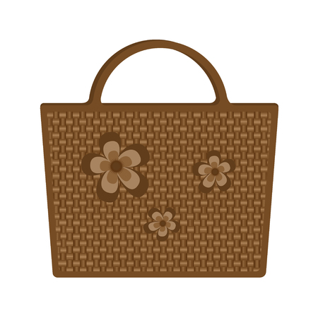Vector illustration of bag beach wicker, decorated flowers isolated on white background. For fashionable woman. Beautiful gift.