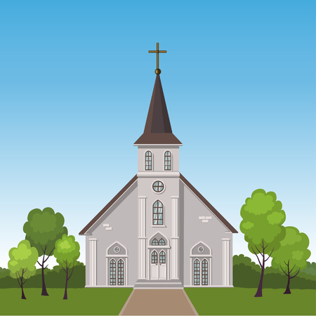 Illustration of church building standing on a lawn surrounded by trees
