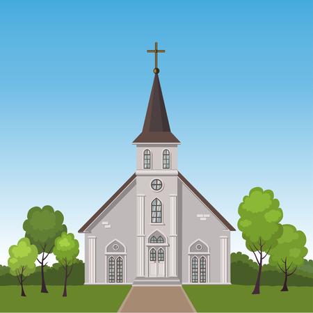 Illustrazione della costruzione della chiesa in piedi su un prato circondato da alberi