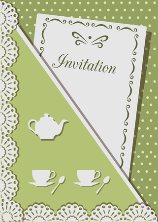 Vector illustration of invitation card for tea, decorated with lace,on background of polka dots Ilustração