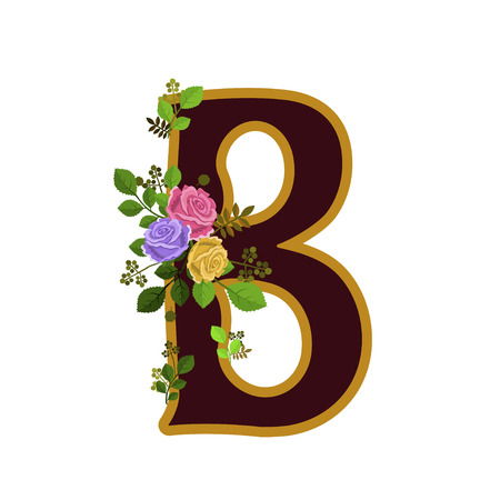 Vector illustration of flower alphabet. Letter B decorated with roses and leaves, isolated on white background.