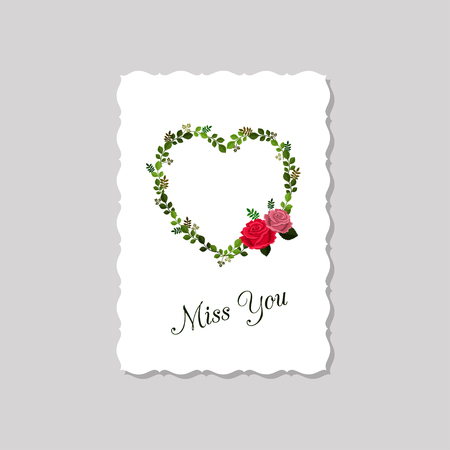 Vector illustration of greeting card Miss you decorated with roses and leaves. Isolated on white background. 向量圖像