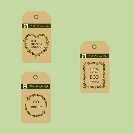 Ilustración de vector de etiquetas de productos ecológicos aisladas sobre fondo claro