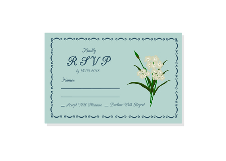 Vector illustration of wedding invitation RSVP isolated on white background