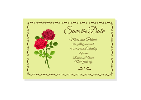 Vector illustration of wedding invitation Save the Date isolated on white background