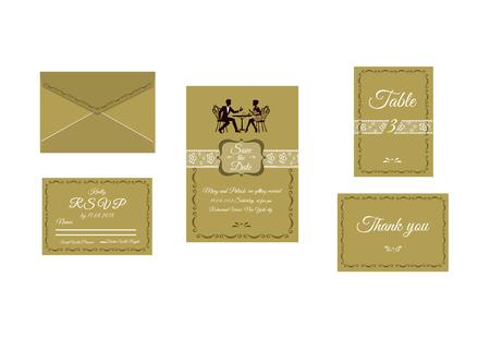 Vector illustration of wedding invitation isolated on white background