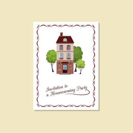 Vector illustration of card Invitation house-warming party