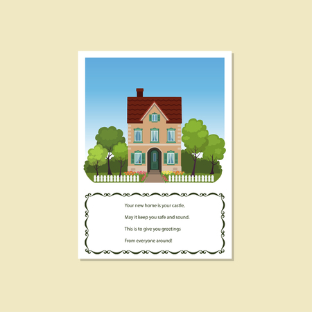 Vector illustration of card Invitation house-warming party Иллюстрация