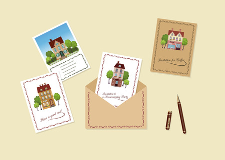 Vector illustration of set of invitation and greeting cards