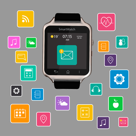 Vector illustration of smart Watch device display with app icons. Isolated on gray background.