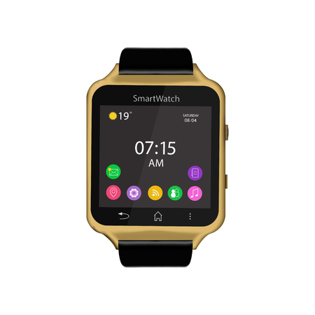 Vector illustration of smart Watch device display with app icons. Isolated on white background. Stock Photo