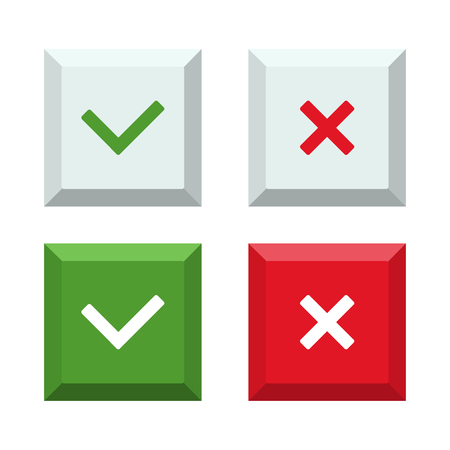 Vector illustration of set of buttons of cross and check mark