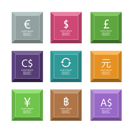 Vector illustration of set of colored icons with currency signs