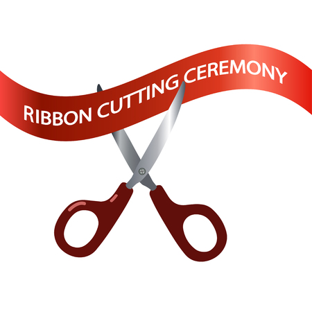 Vector illustration of ribbon cutting ceremony, scissors, concept