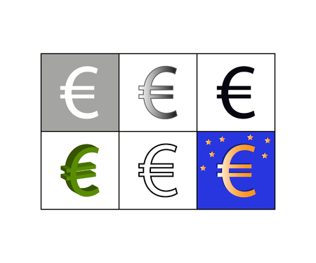 Vector illustration of set of icons with euro currency symbol