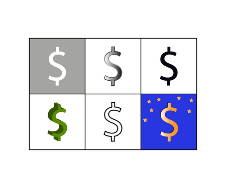 Vector illustration of set of icons with dollar currency symbol