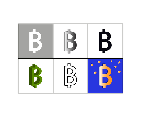 Vector illustration of set of icons with bitcoin currency symbol Vettoriali
