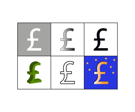Vector illustration of set of icons with pound currency symbol