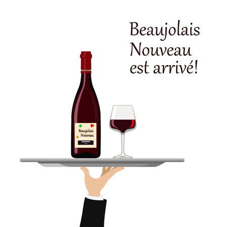 Vector illustration of beaujolais Nouveau wine with glass on tray