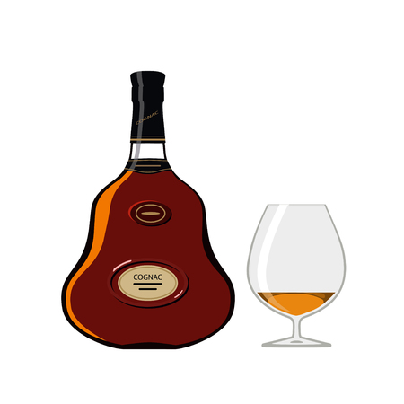 Vector illustration of bottle of cognac with glass isolated on white background