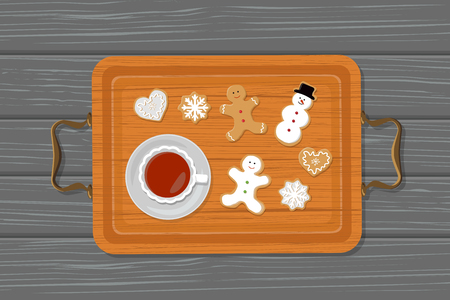 Vector illustration of cup of tea and gingerbread on tray