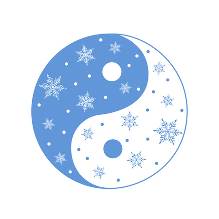 Vector illustration of Yin Yang symbol with snowflakes