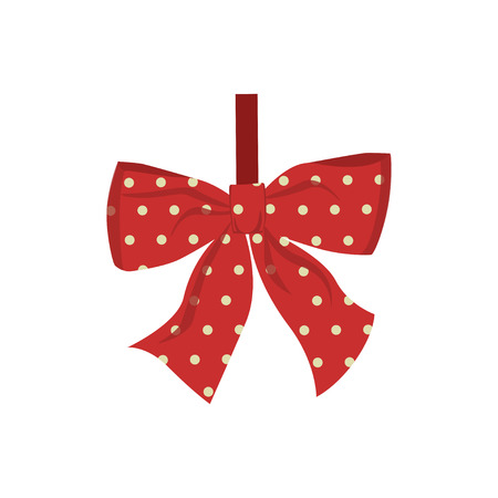 Vector illustration of Christmas decoration bow isolated on white background
