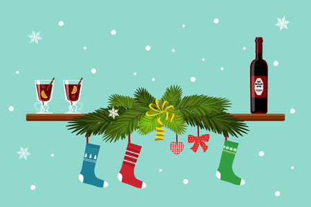 Vector illustration of mulled wine, fir branches and socks for gifts