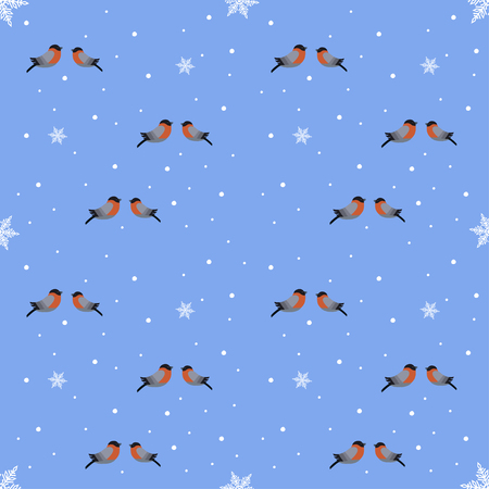 Vector illustration of seamless bullfinch and snowflakes on a blue background Illustration