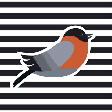 Vector illustration of Bullfinch on striped background