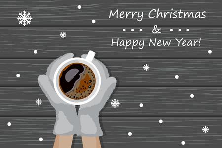 Illustration vectorielle de mains dans des mitaines tricotées tenir une tasse de café