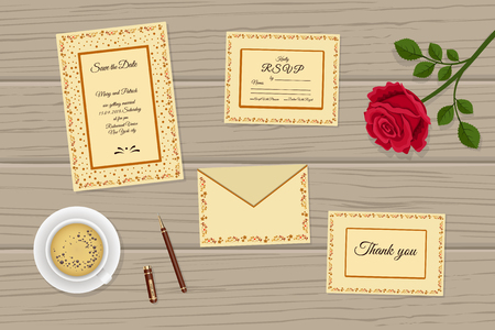 Vector illustration of set of wedding invitations decorated with ethnic pattern