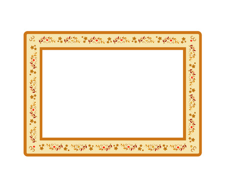 Vector illustration of frame decorated with ethnic pattern isolated on white background