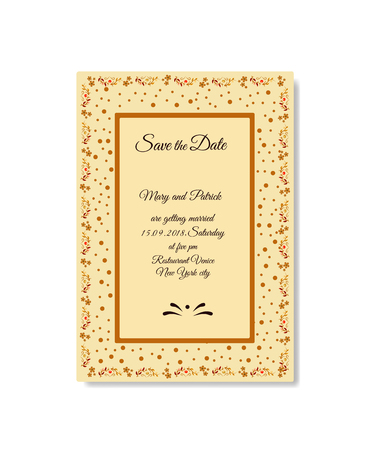Vector illustration of decorative frame Save the date
