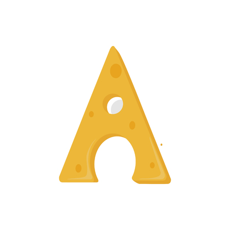 Vector Illustrator of Cheese Alphabet Letters