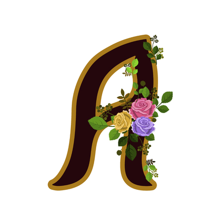 Vector illustration of letter decorated with roses, isolated on white background