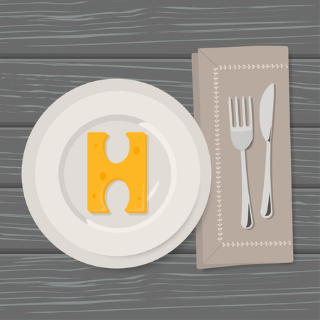 Vector Illustration of Letters of Cheese Alphabet in Serving