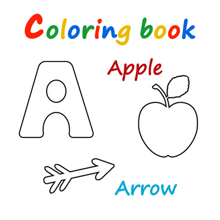 Vector illustration of Alphabet coloring book to educate preschool kids