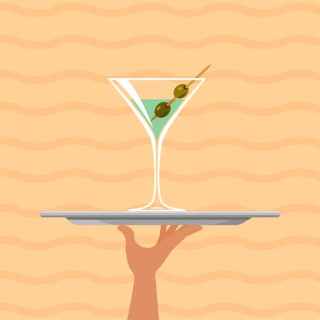 Cocktail martini on tray on summer background. Vector illustration Иллюстрация