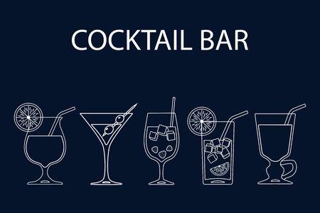 Set of cocktails line art design on blue background. Vector illustration Иллюстрация