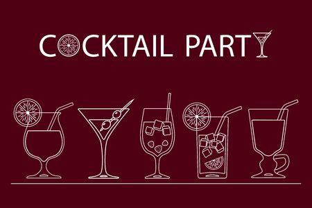 Set of cocktails line art design on red background. Vector illustration Иллюстрация
