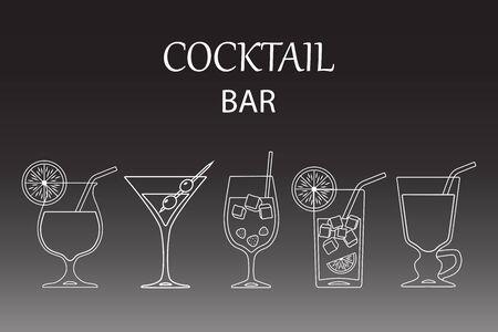 Set of cocktails line art design on black background. Vector illustration