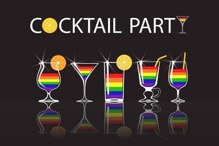 Set of cocktails with colors of LGBT flag on black background. Vector illustration