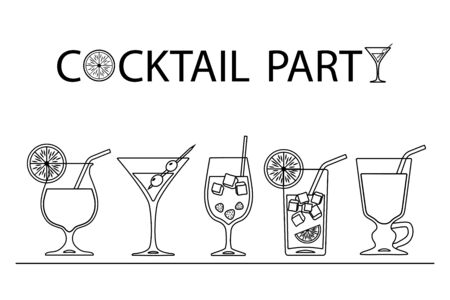 Set of cocktails line art design on white background. Vector illustration Иллюстрация