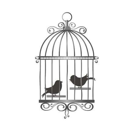 Silver vintage bird cage with bird silhouettes. Vector illustration