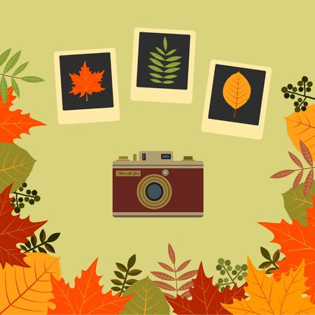 Autumn composition with leaves and camera. Vector illustration