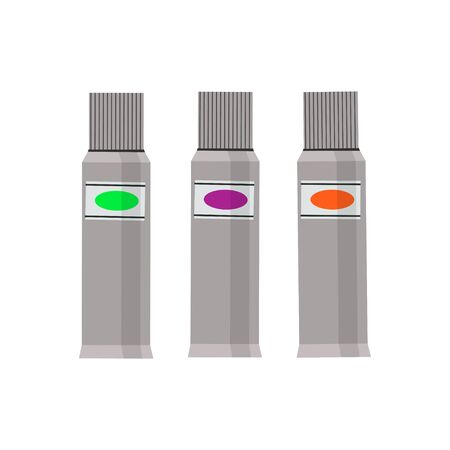 Set of paint tubes on white background. Vector illustration