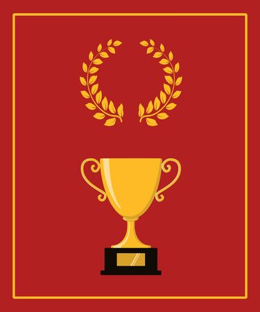 Award icons. Web site. Greeting card of trophy cup with stars. Vector illustration Banque d'images - 131309438