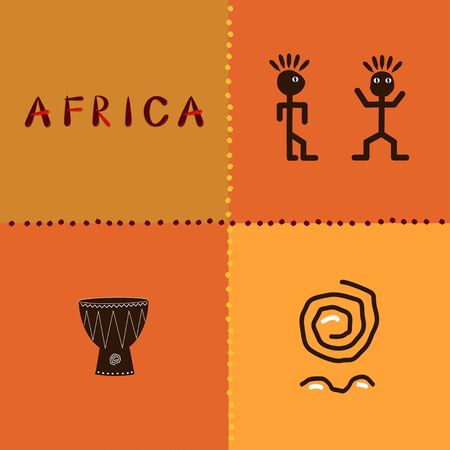 Africa. Set of african funny ethnic characters. Vector illustration